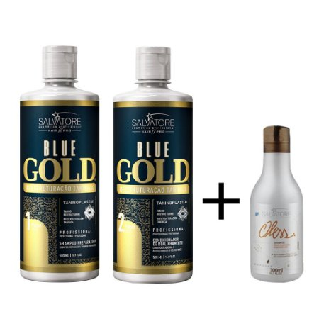 Kit Salvatore Blue Gold Reestruturação 2x1l + Shampoo