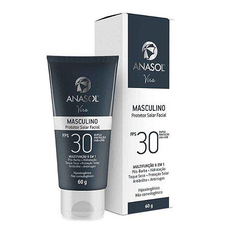 Viso Masculino FPS 30 - Protetor Solar Facial 60g - Anasol