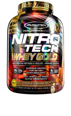 NITRO TECH 100% WHEY GOLD 5.52LBS CHOCO BANANA SPLIT