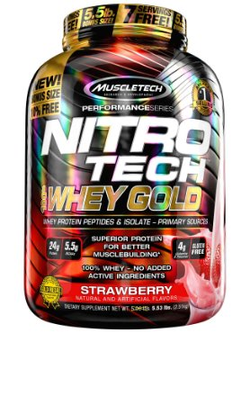 NITRO TECH 100% WHEY GOLD 5.53LBS MORANGO