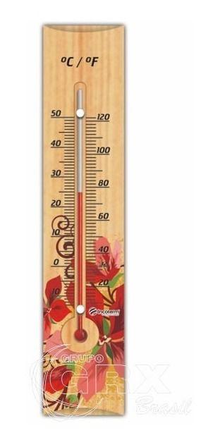Termômetro Ambiente Decorativo Madeira Floral Ta 214.05.1.05
