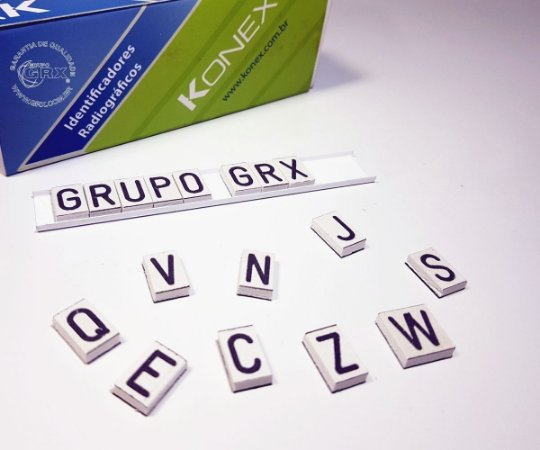 Alfabeto de Chumbo PVC Konex 8mm Identificação Raios X