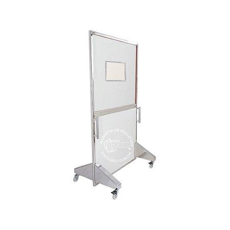 Biombo Radiológico Inox GRX 1 mmPb 180X80cm c/ Visor 30x40cm de 1.2mmPb