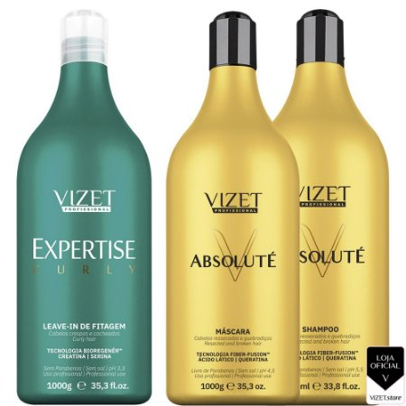 Tratamento Absoluté 1000ml + Curly Leave in de Fitagem 1000ml Vizet Profissional