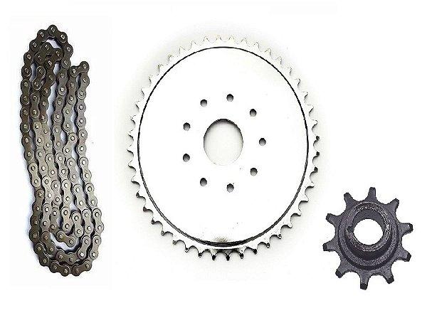 Kit Relação – Coroa, Pinhão e Corrente para Kit Motores 80cc