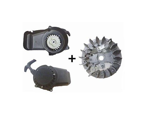 Partida Puxador Manual + Magneto (FÁCIL 02 MOLAS) para Mini Motos/Quadriciclos 49cc