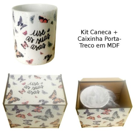Kit de Caneca de Cerâmica e Caixinha de MDF Personalizadas com Mesmo Tema