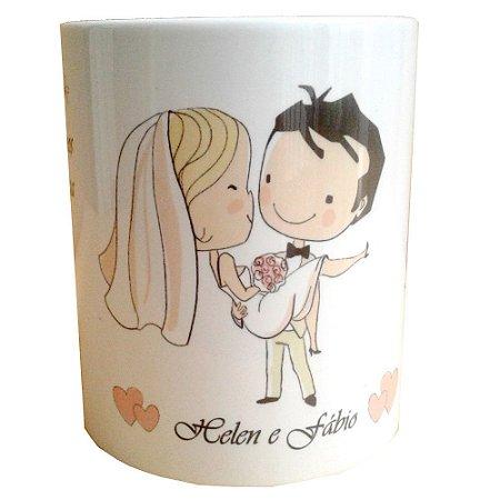 Caneca Personalizada Para Casamento de Cerâmica 325 ml