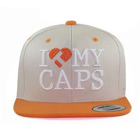 Boné True Heart Snapback Y Love My Caps Cinza/Laranja