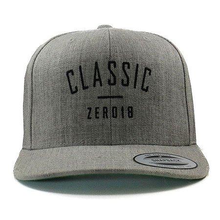 Boné Snapback Zero 18 Aba Curva Classic Cinza Mescla - Flexfit