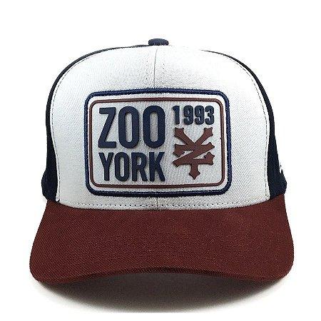 Boné Zoo York Aba Curva Snapback Tag Branco marinho 33f167221d4