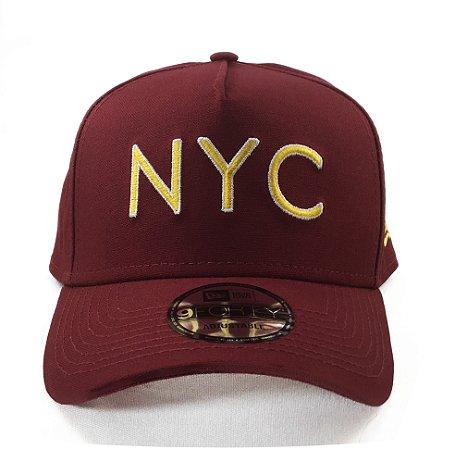 Boné New Era 940 Snapback Aba Curva NYC Veranito- VERMELHO ESCURO