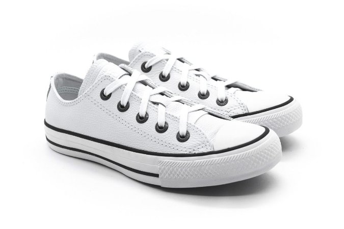 0077573c108 Tênis Converse Chuck Taylor All Star Ox Branco Couro - Crispim Store ...