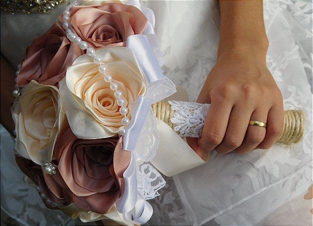 Buquê de Noiva - Rústico I - Marfim e Rosê