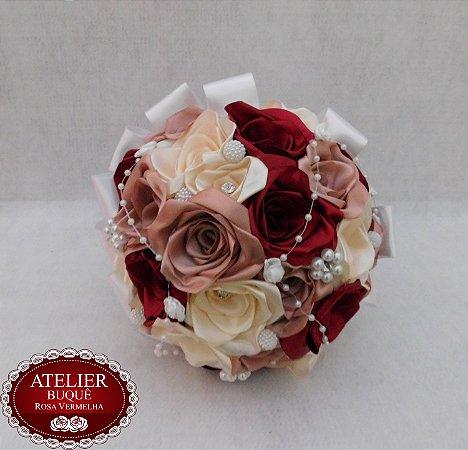 Buquê de Noiva - Rosas Colombianas - Marsala, Rosé e Marfim