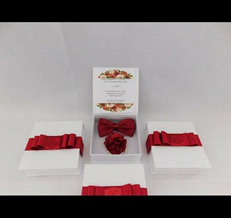 Caixa convite para padrinhos - Gravata borboleta + Corsage