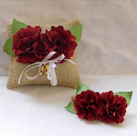 Almofada Rústica + Flor para Penteado