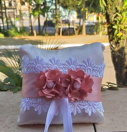 Almofada para Alianças - flores camélia