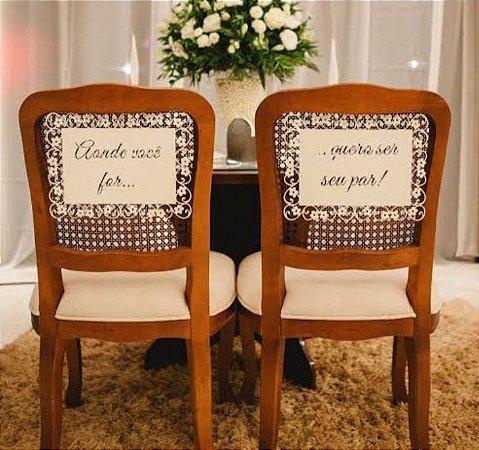 Par de Placa das Cadeiras dos Noivos