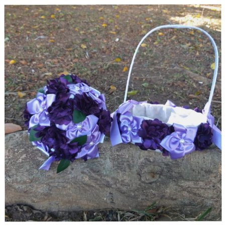 Kit Buquê de Noiva e Cesta para Florista - Roxo e Lilás