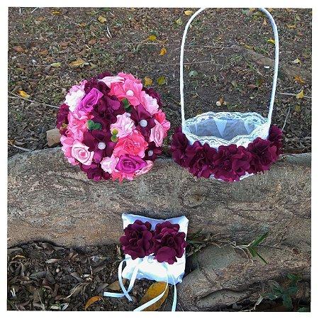 Kit Buquê de Noiva, cesta, porta aliança/ Tons de rosa