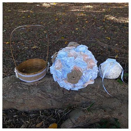 Kit Rústico- Buquê de noiva, cesta, porta aliança