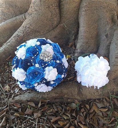 Kit- Buquê de Noiva + Dama - Tons de Azul e Branco