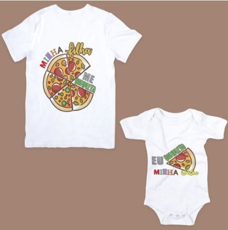 Kit Camiseta e Boby Tal Mãe Tal Filha pizza