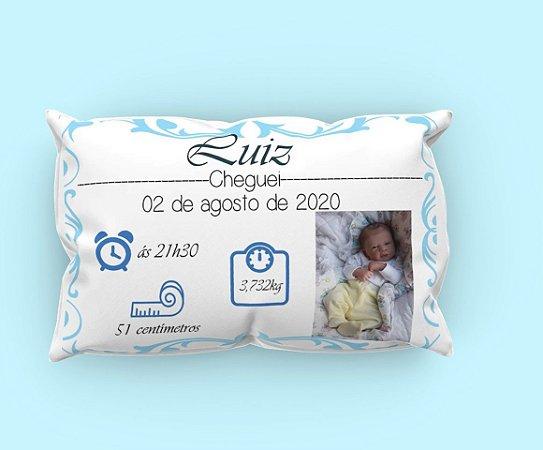 Almofada Dados do Bebê Recém Nascido