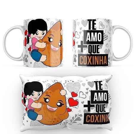 Kit Caneca e Almofada I Te Amo + Que Coxinha