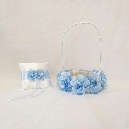 Kit Cesta + Almofada Azul Serenity
