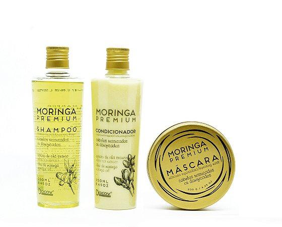 Kit Moringa Premium Shampoo 250 mL + Condicionador 250 mL + Mascara 200g Hidratação Profunda