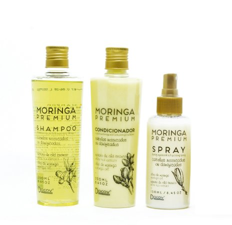 Kit Moringa Premium Shampoo 250 mL + Condicionador 250 mL + Spray 150 mL Hidratação Profunda