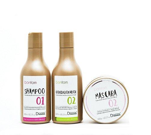 Kit Bontom Shampoo 300 ml + Condicionador 300 ml + Mascara 300g Óleo de Coco Cabelos Crespos Cacheados