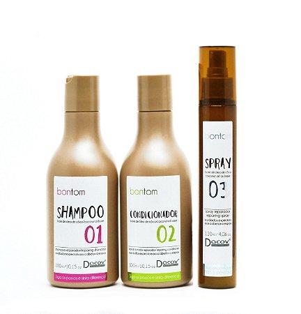 Kit Bontom Shampoo 300 ml + Condicionador 300 ml + Spray 120 ml Óleo de Coco Cabelos Crespos Cacheados