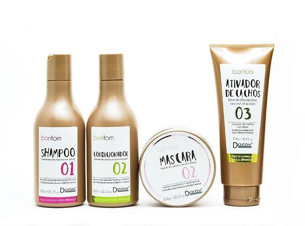 Kit Bontom Shampoo 300 ml + Condicionador 300 ml + Mascara 300g + Ativador de cachos 250 ml Óleo de Coco Cabelos Crespos Cacheados