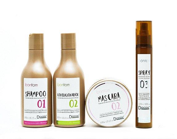 Kit Bontom Shampoo 300 ml + Condicionador 300 ml + Mascara 300g + Spray 120 ml Óleo de Coco Cabelos Crespos e Cacheados