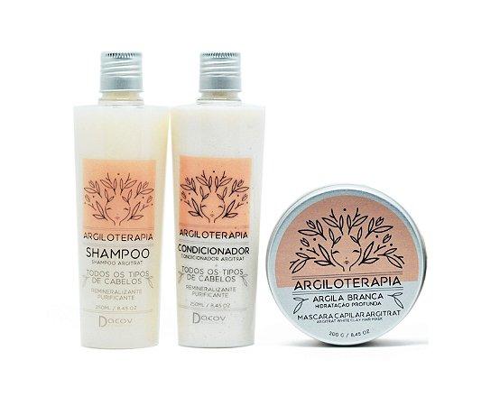 Kit Hidratação para Cabelos Ressecados Argila Branca Shampoo 250 ml + Condicionador 250 ml + Mascara 200g