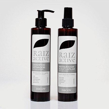 Kit  Raiz Active Antiqueda e Crescimento Capilar (Shampoo 250ml + Restaurador 250ml) a base de Fitoterápicos +óleos essenciais . Eficácia comprovada a mais de 5 anos