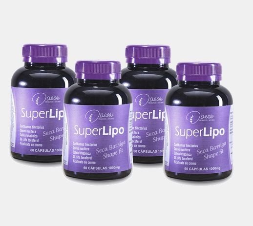 Super Lipo kit 4 frascos 240 cápsulas 1000mg (2 Meses de Tratamento)