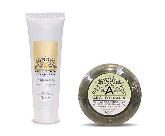 Kit Argiloterapia Máscara Facial Argila Dourada 100g + Sabonete de Argila Verde 110g
