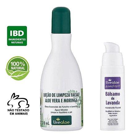 kit Loção de Limpeza Facial Natural Aloe Vera e Moringa 210ml + Bálsamo Facial Natural de Lavanda 30ml – Livealoe