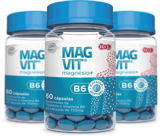 kit 3 Frascos de Cloreto De Magnésio Magvit + Vitamina B6 180 Cápsulas 750mg