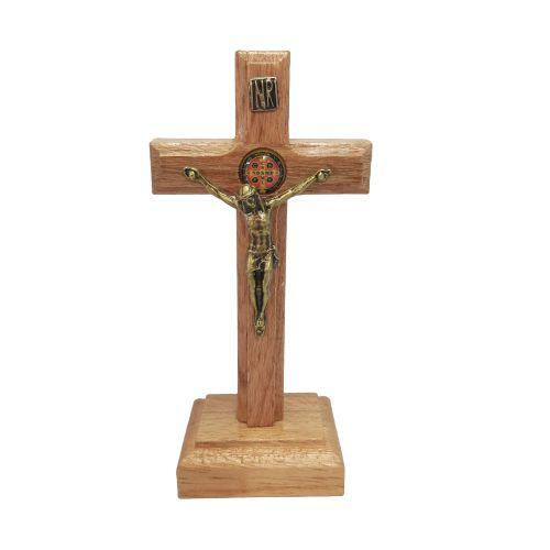 Crucifixo de Imbuia mesa ou parede São Bento