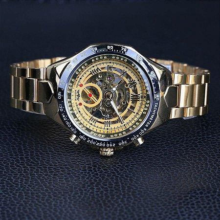 b41472018a0 Relógio Mecânico Vencedor de Ouro Top Marca de Luxo Automático Clássico  Esqueleto de Aço