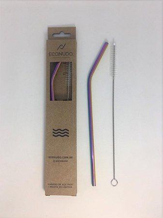 Canudo de Metal Reutilizável com Escova - Curvo Colorido 6mm