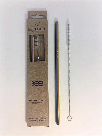 Canudo de Metal Reutilizável com Escova - Reto Colorido Grande 8mm