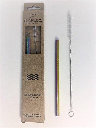 Canudo de Metal Reutilizável com Escova - Reto Colorido Pequeno 8mm