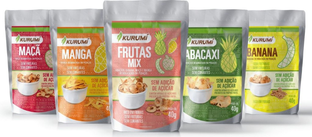 Kit Snacks Desidratados - Abacaxi, Banana, Manga, Maçã e Frutas Mix (5 pacotes de 40g cada)