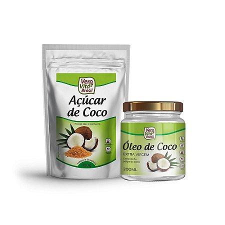 Kit Coco - Óleo de Coco Extra Virgem  (200 ml) e Açucar de Coco (100 g)